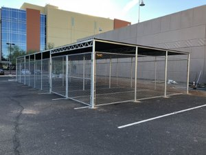 chain-link building enclosure